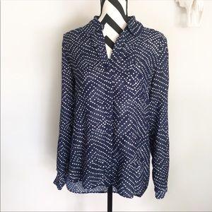 DvF✨blue polka dot button down shirt